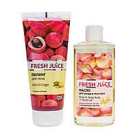 """Набор косметический Fresh juice """"Pink sunrise"""" (Пилинг для тела 200мл+Пилинг для ухода и массажа 150 мл)"""