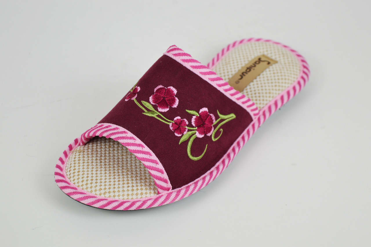 Тапочки бордовые с открытым носком Inblu KSGM016