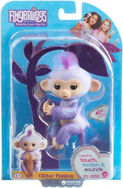 Интерактивная гламурная ручная обезьянка Wow Wee Fingerlings фиолетовая