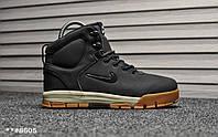 Мужские зимние ботинки на меху в стиле Nike Air Nevist Black, черные. Код товара: Т - 8605