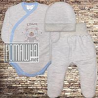Теплый с флисом р 56 0-1 мес комплект костюмчик на выписку на новорожденного грудничка ЕВРОФУТЕР 4491 Голубой