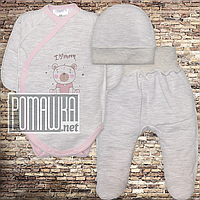 Теплый с флисом р 56 0-1 мес комплект костюмчик на выписку на новорожденного грудничка ЕВРОФУТЕР 4491 Розовый