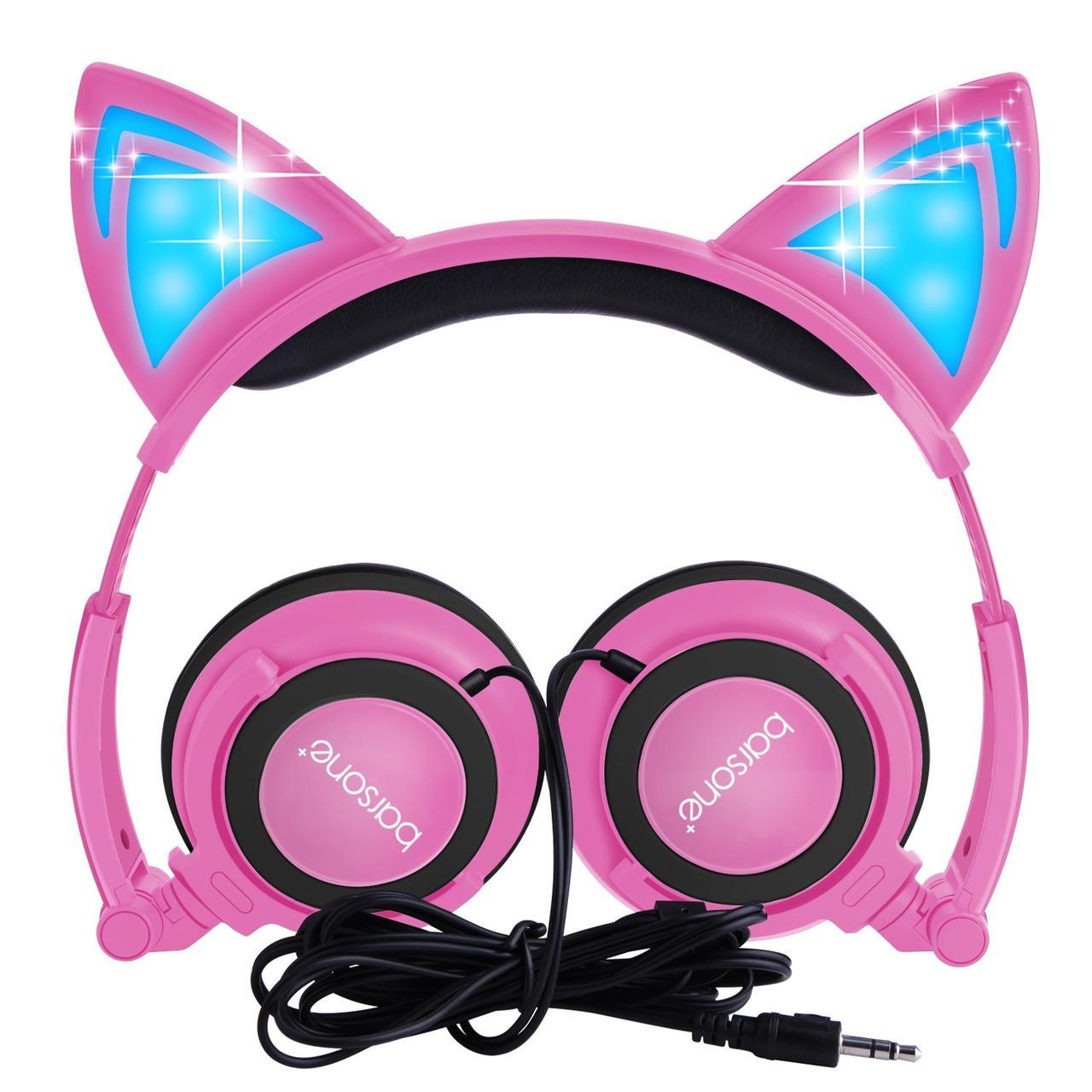 """Детские наушники  """"Cat"""" складные с подсветкой (розовый)"""