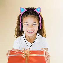 """Детские наушники  """"Cat"""" складные с подсветкой (розовый), фото 3"""