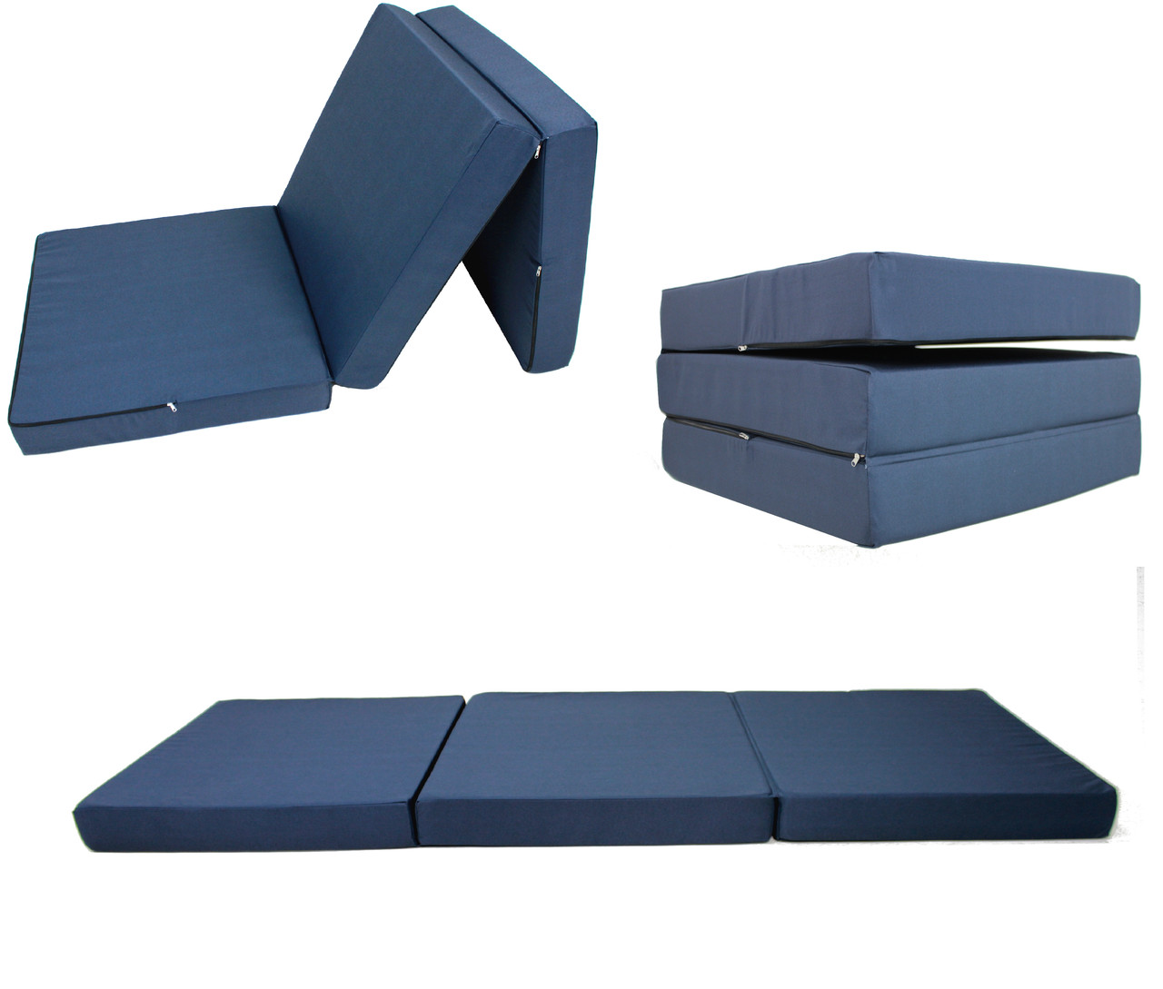 Матрас раскладной 70*195 см, раскладушка, пуф-кровать синий