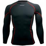 Спортивный рашгард Btoperform длинный рукав черный с красным, фото 4