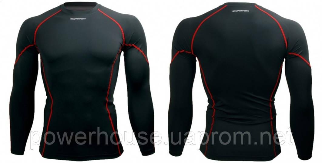 Спортивный рашгард Btoperform длинный рукав черный с красным