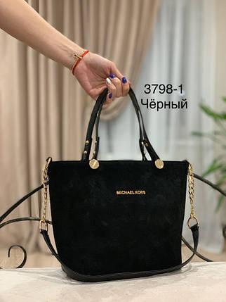 Каркасная замшевая сумка черного цвета, фото 2