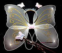 Крылья феи набор (крылья, палочка, обруч), белые (40Х38)