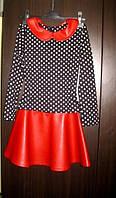 Детский костюм кофта в горошек и юбка из красной эко кожи
