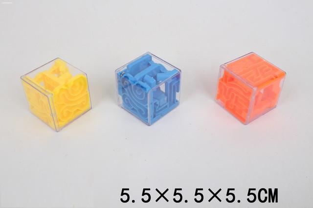 Головоломка-куб, 3D-лабиринт, 3 цвета, микс, в пак. 5,5*5,5*5,5см (360шт/2)