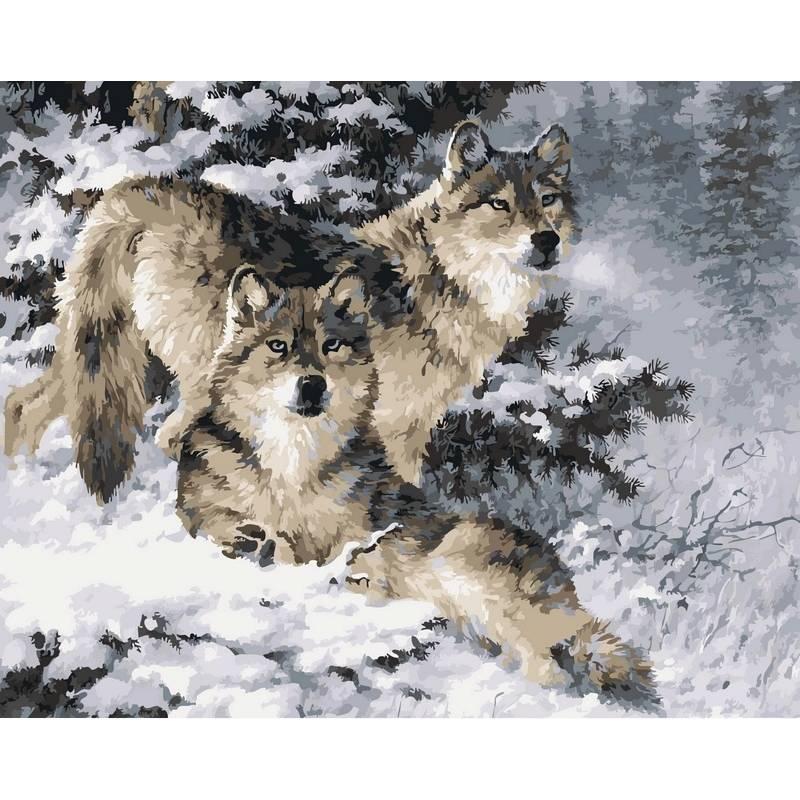 """Картина по номерам 50х40см Babylone Turbo """"Пара волков"""""""
