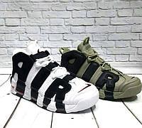 Мужские кроссовки Nike Air More Uptempo кожа зеленые/хаки и белые 0160НИМ