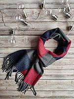 Зимний мужской  шарф красный с серым