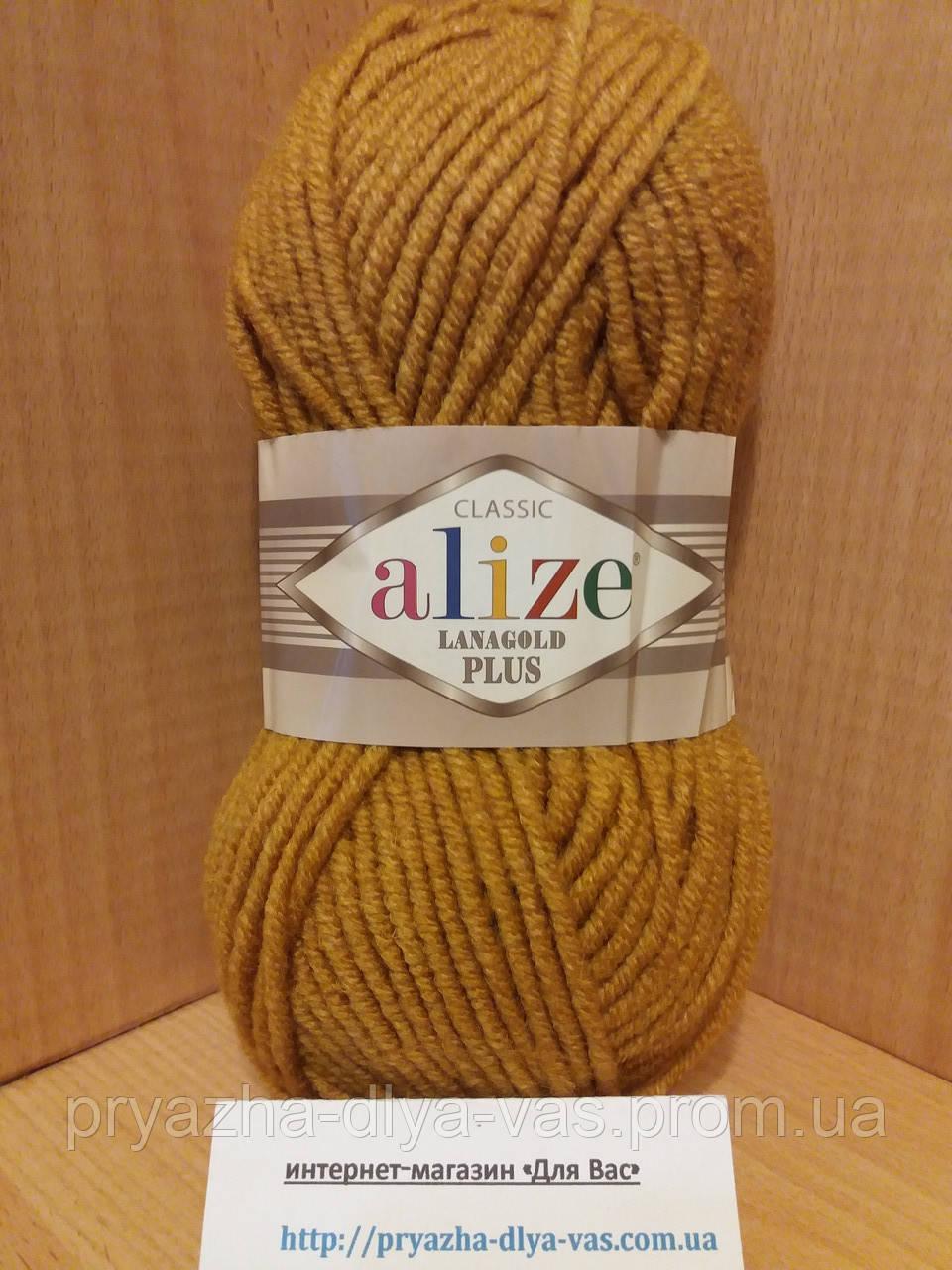 Полушерстяная пряжа (49%-шерсть,51%-акрил,100г/140м) Alize Lanagold plus 645(горчичный)