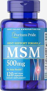 Puritan's Pride MSM 500 mg 120 caps, Пуритан Прайд МСМ 500 мг 120 капсул