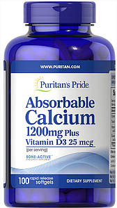 Puritan's Pride Absorbable Calcium 1200 mg Plus Vitamin D3 25 mcg 100 softgels