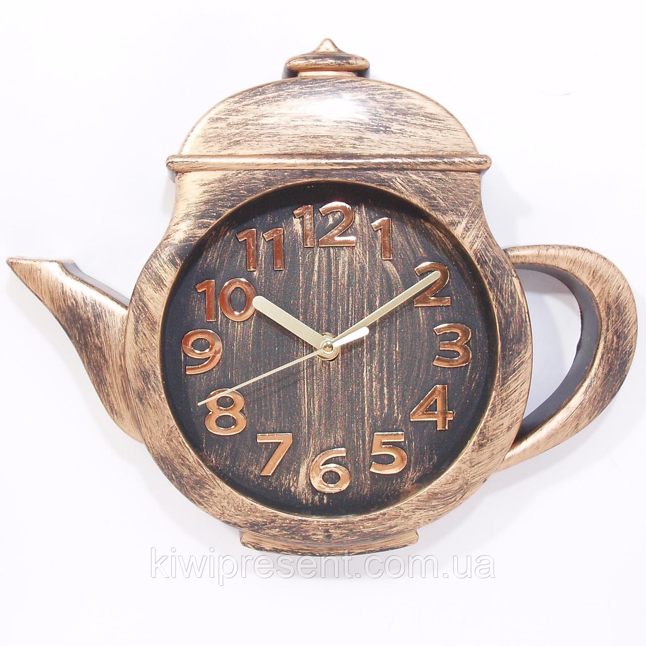 """Настенные часы """"Чайник"""" (бронза, золото, коричневый, белый)"""