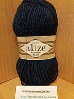 Полушерстяная пряжа (49%-шерсть,51%-акрил,100г/140м) Alize Lanagold plus 215(черника)