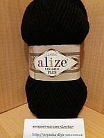 Полушерстяная пряжа (49%-шерсть,51%-акрил,100г/140м) Alize Lanagold plus 60(чёрный)