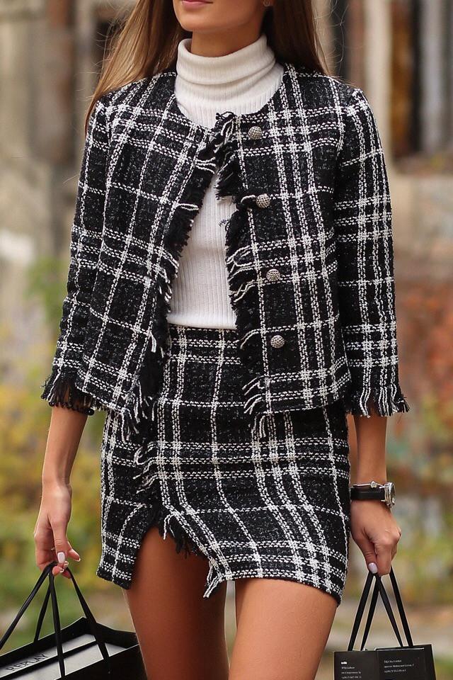 4c4359b61edd Женский костюм блуза с юбкой в стиле Шанель -