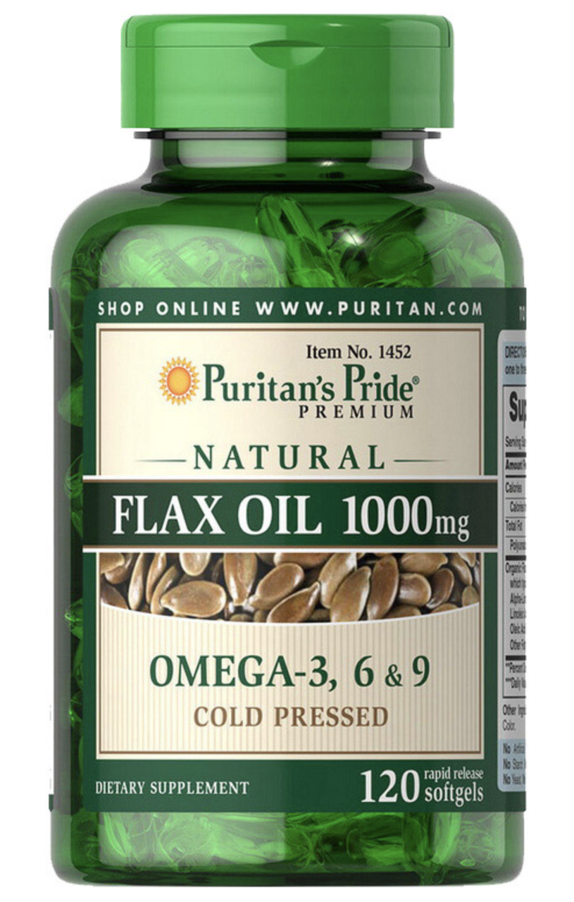 Puritan's Pride Flax Oil 1000 mg Omega 3-6-9 120 softgels