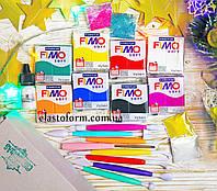 Подарочный набор Фимо Софт +стеки для лепки +лак +термоклей + блестки