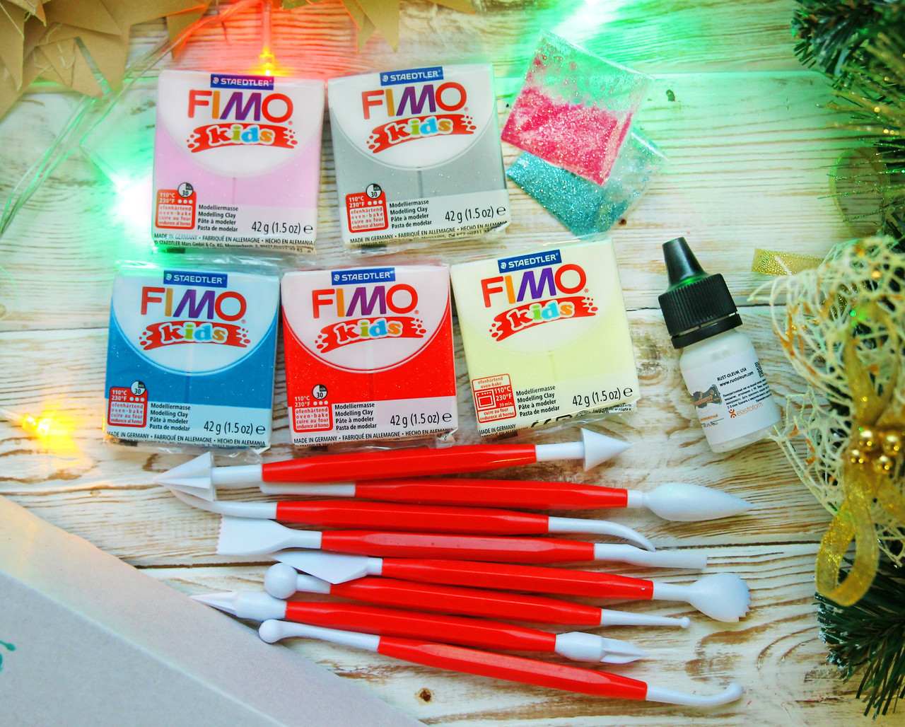 Подарочный набор Фимо Кидс (Германия) с глиттером+ инструменты+дотс+лак+ коробка