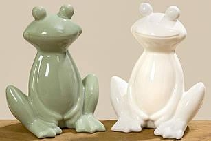 Фигурка лягушки керамическая декоративная зелёная