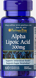 Puritan's Pride Alpha Lipoic Acid 300 mg 60 caps, Альфа Липоевая Кислота 300 мг 60 капсул