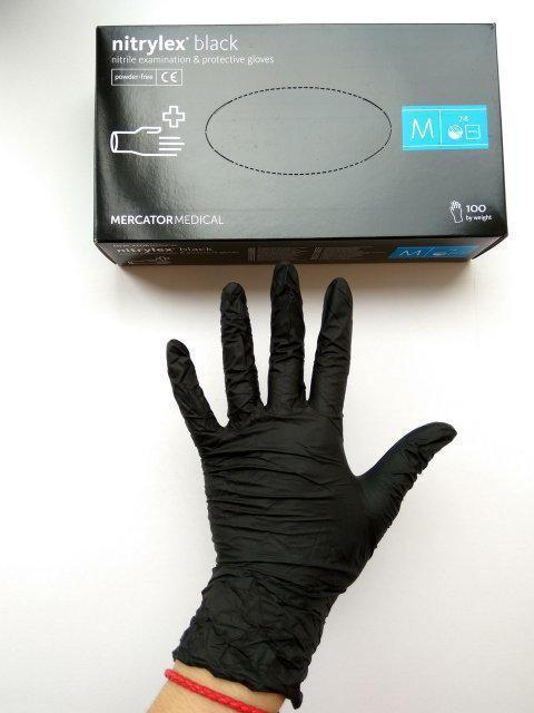 Перчатки прочные нитриловые неопудренные, черные Nitrylex , L. 4 шт. На кончиках пальцев текстурированы