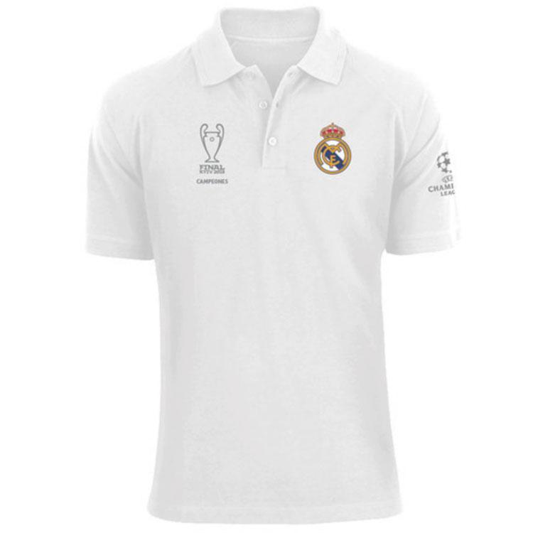Футбольная футболка поло Реал Мадрид белая сезон 18/19
