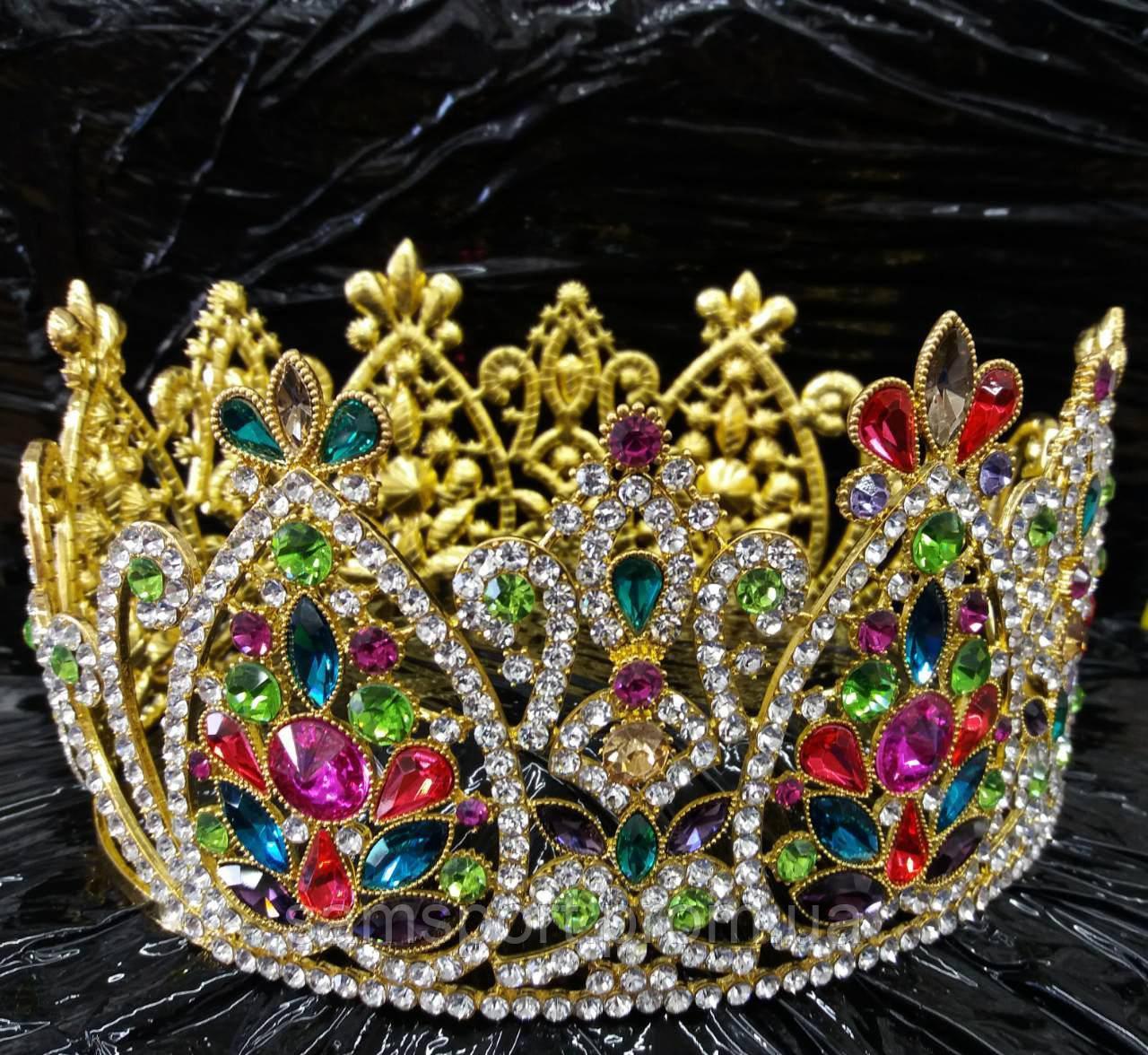 Восточные высокие короны из цветных страз и камней оптом 181