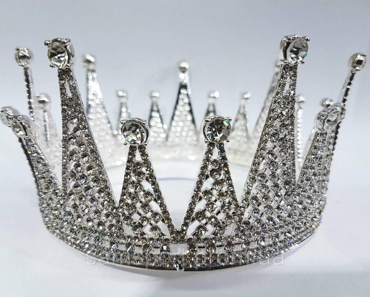 Оригинальные круглые свадебные короны. Необычная корона с кристаллами 210