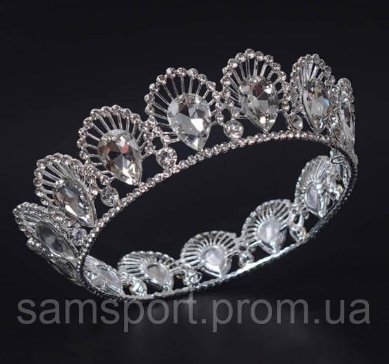 Оригинальная круглая свадебная корона. Необычная корона с белыми кристаллами 217
