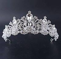 222 Свадебные короны усыпанные камнями и стеклярусом. Высокие свадебные короны оптом.