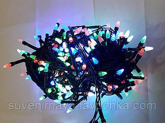 Гірлянда ЯЛИНКА 100 LED на чорному проводі різнокольорова