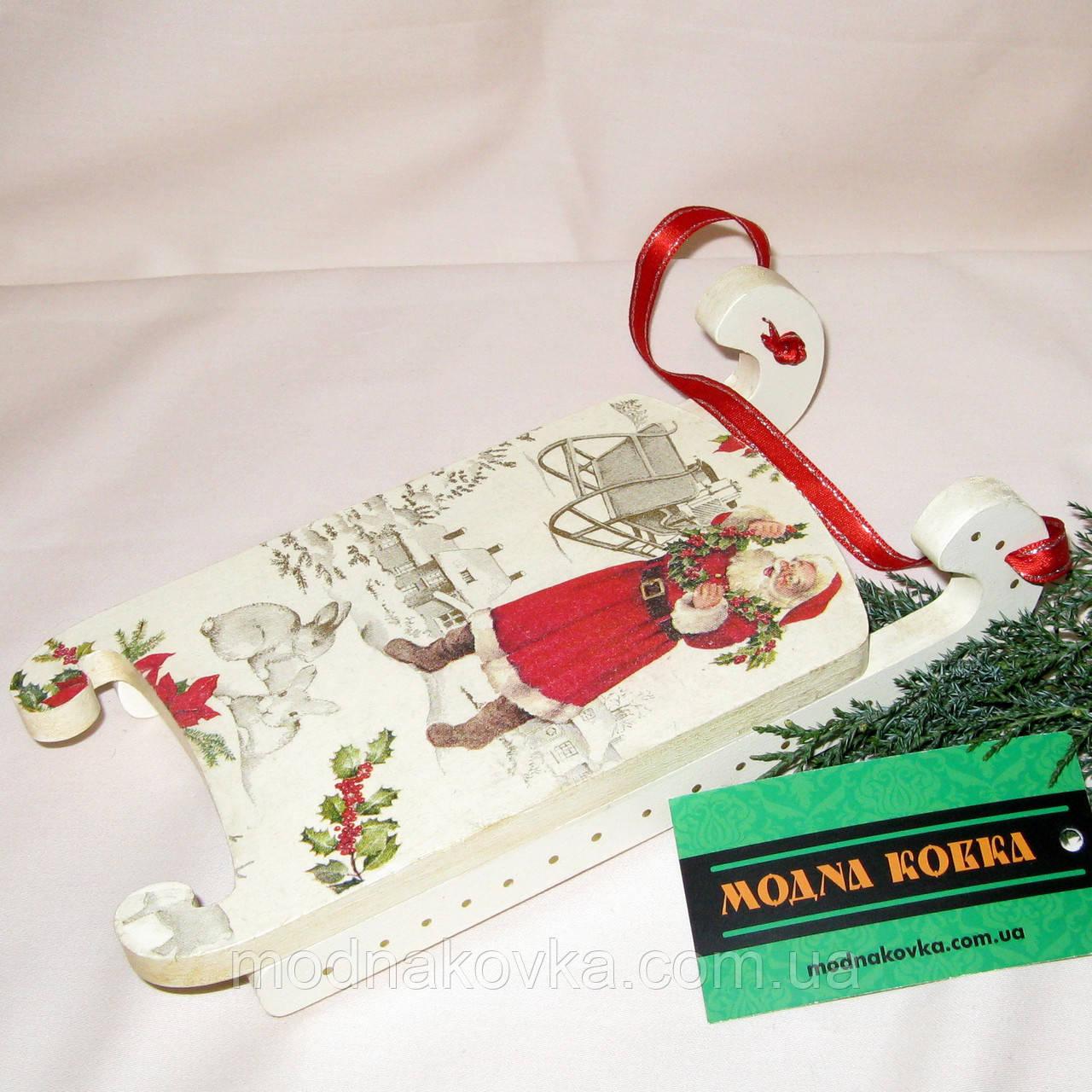 Новогодний декор ручной работы Сани большие