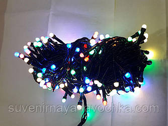 Гірлянда МАТОВА 100 LED 5mm на чорному проводі, різнокольорова