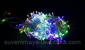 Гирлянда 100 LED 5mm, на прозорому проводі, Різнокольорова