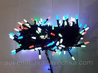 Гирлянда 100 LED ГОЛКА (РИС) на чорному проводі 5mm, різного кольору