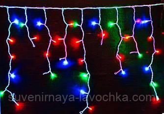 Гірлянда Бахрома (бурулька-штора) 120 LED-5mm, на прозорому проводі різнокольорова