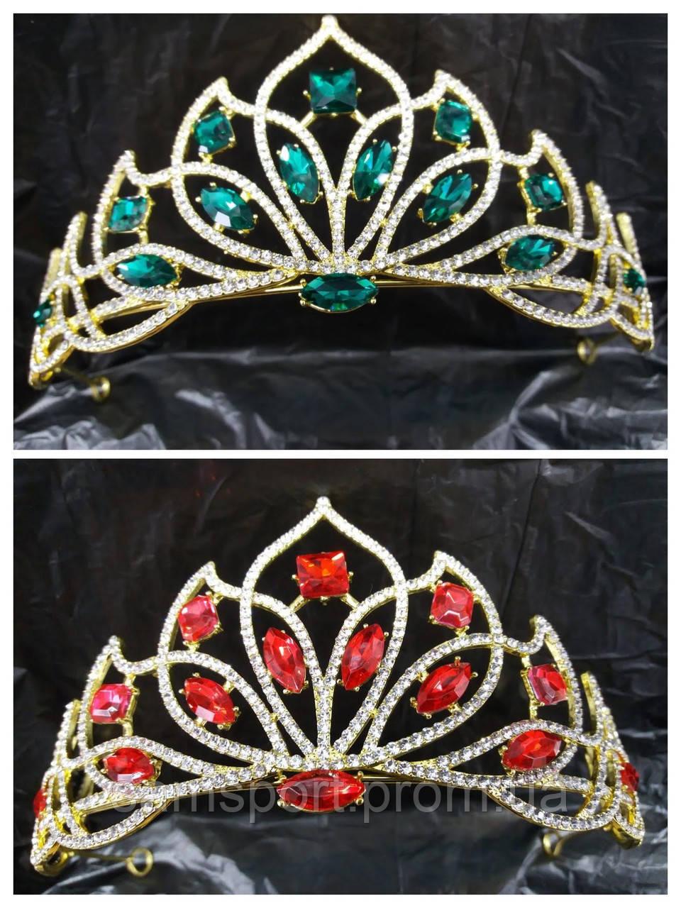 247 Свадебные аксессуары, диадемы - короны. Красные и зеленые свадебные короны.