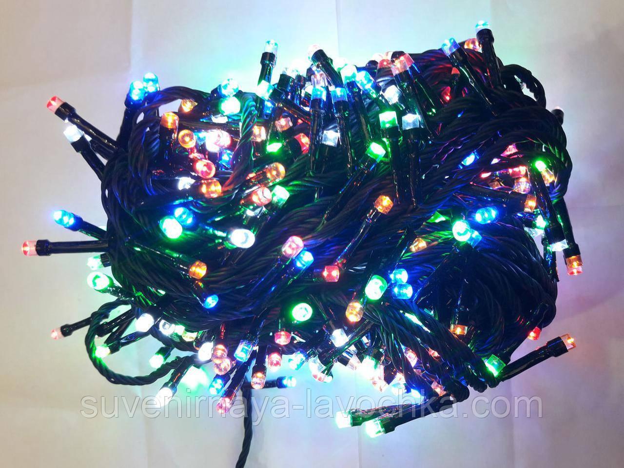 Гірлянда 300 LED 5mm, на чорному проводі, Різнокольорова