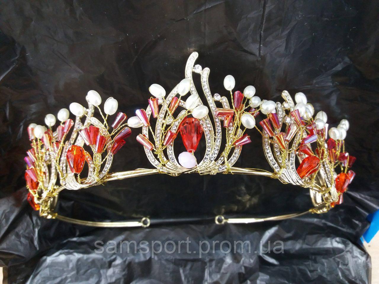 252 Царские красные короны. Свадебные аксессуары оптом.