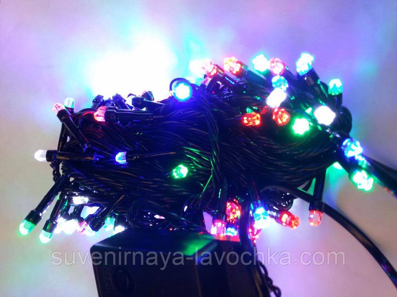 Гирлянда КРИСТАЛЛ 100 LED 5mm на черном проводе, разноцветная