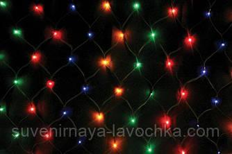 Гірлянда СІТКА Ягідка 120 LED-8mm 1,5 m*1,5 m на чорному проводі різнокольорова
