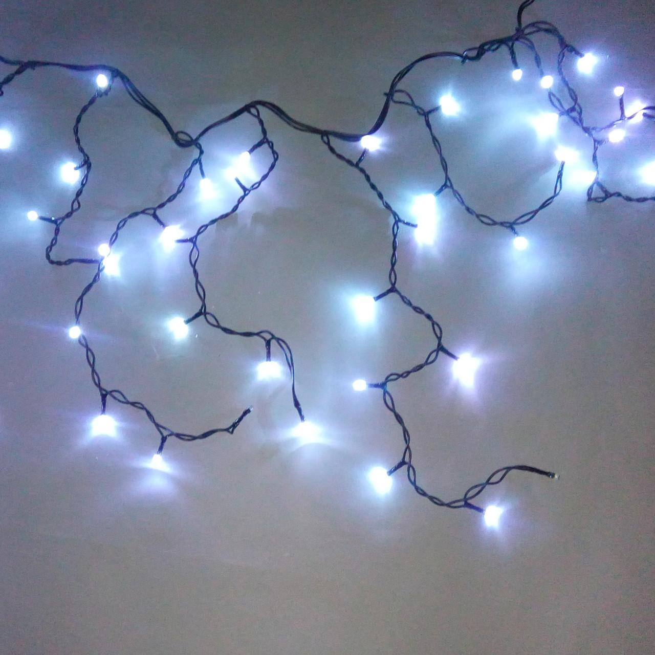 Светодиодная гирлянда Бахрома Flash, 3х0.6 м, 2,2мм Белая/Черный Каучук
