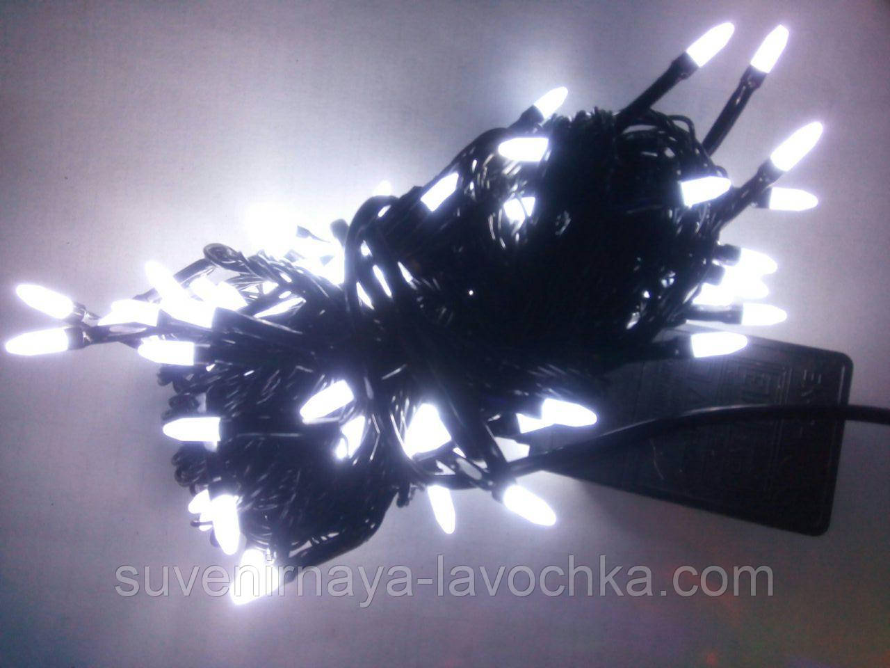 Гирлянда 100 LED ГОЛКА (РИС) на чорному проводі 5mm, білого кольору