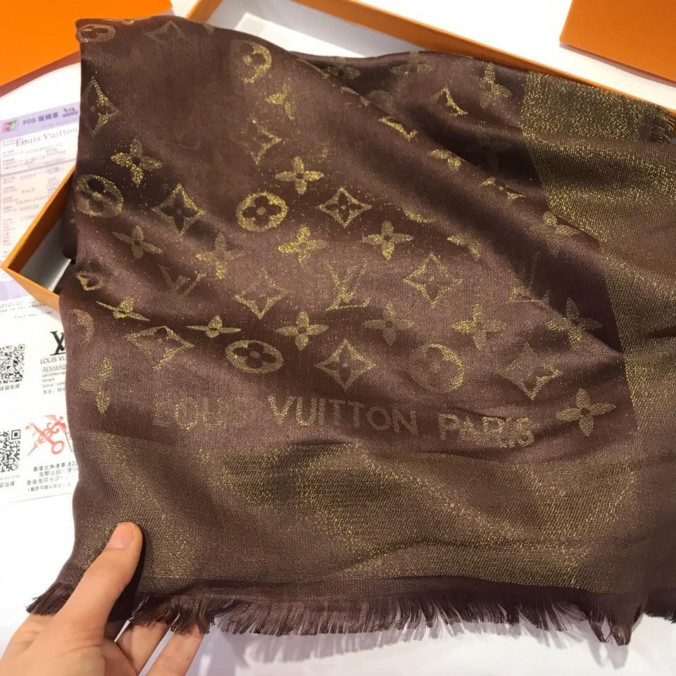 77dcb416f796 Платок, шаль Луи Витон коричневый с люрексом